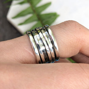 Sterling Silver 3-Wire Spinner Cigar Band Ring, Sterling Silver 3-Wire Spinner Cigar Band Ring - Legacy Saint Jewelry