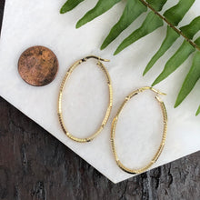Load image into Gallery viewer, 14KT Yellow Gold Textured Patterned Oval Hoop Earrings, 14KT Yellow Gold Textured Patterned Oval Hoop Earrings - Legacy Saint Jewelry