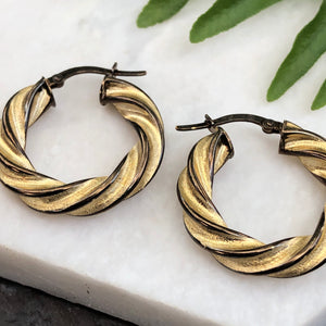 14KT Yellow Gold + Chocolate Gold Twist Hoop Earrings, 14KT Yellow Gold + Chocolate Gold Twist Hoop Earrings - Legacy Saint Jewelry