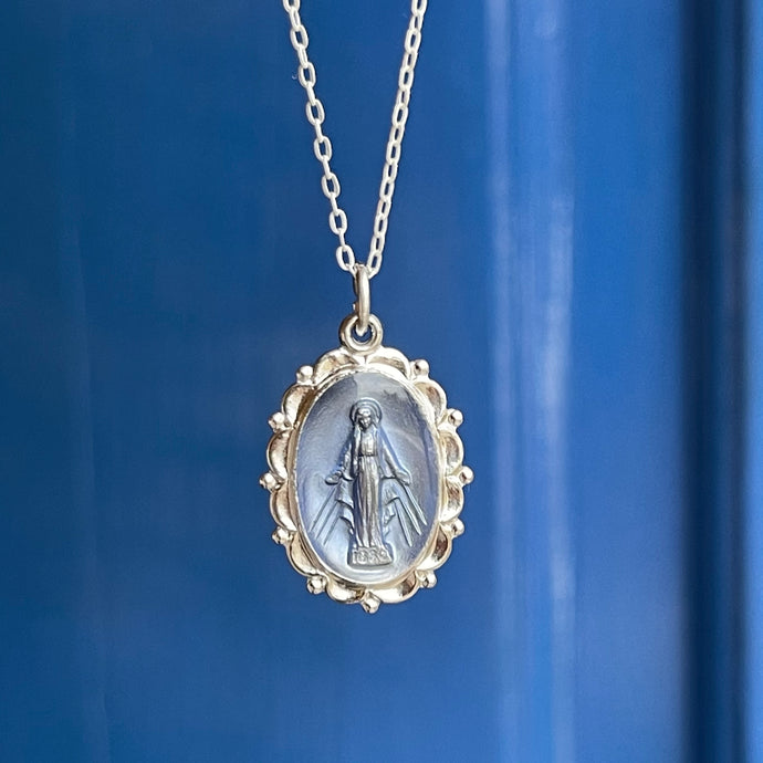Sterling Silver Blue Oval Miraculous Medal Pendant Necklace