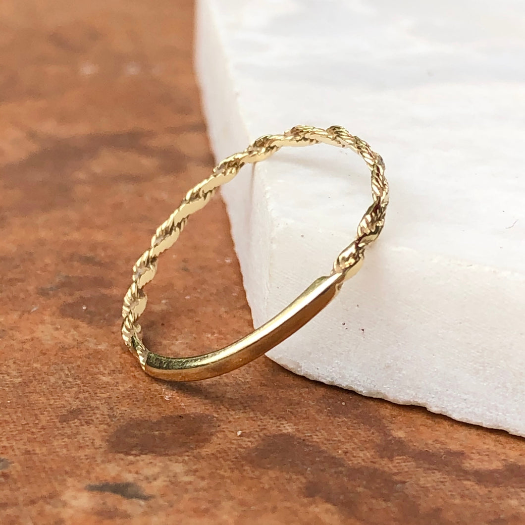 14KT Yellow Gold Diamond Cut Rope Band Ring, 14KT Yellow Gold Diamond Cut Rope Band Ring - Legacy Saint Jewelry