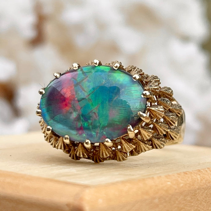 Estate 14KT Yellow Gold Mid Century Oval Multi Tonal Opal Dome Ring