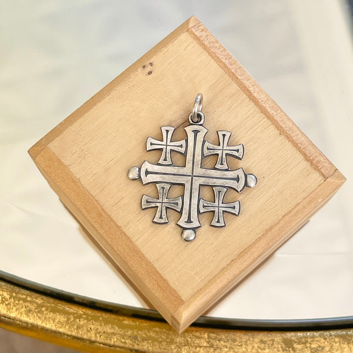 Sterling Silver Antiqued Jerusalem Crusader Cross Pendant 26mm