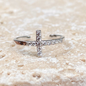 Sterling Silver CZ Horizontal Cross Toe Ring, Sterling Silver CZ Horizontal Cross Toe Ring - Legacy Saint Jewelry