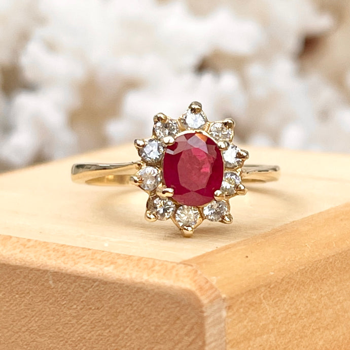 Estate 14KT Yellow Gold Oval Ruby + Diamond Halo Ring