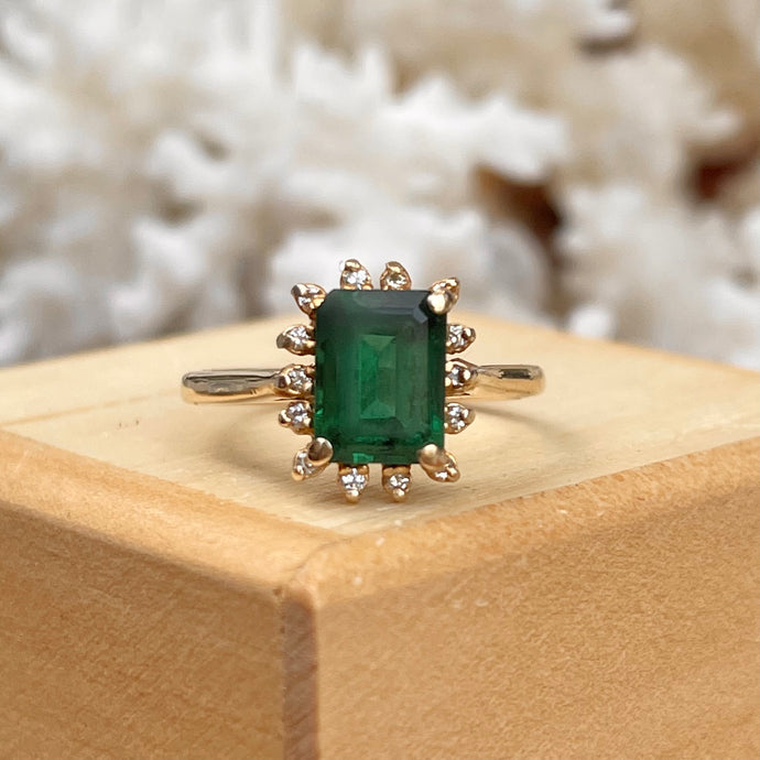 Estate 14KT Yellow Gold 1.75 CT Emerald-Cut Emerald + Diamond Halo Ring