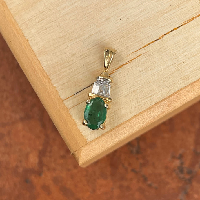 Estate 14KT Yellow Gold Oval Emerald + Baguette Diamond Drop Pendant