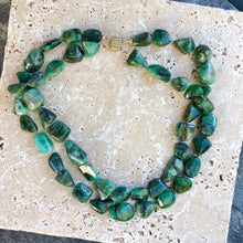 Load image into Gallery viewer, 14KT Yellow Gold Double Strand Emerald Link Necklace, 14KT Yellow Gold Double Strand Emerald Link Necklace - Legacy Saint Jewelry
