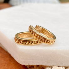 Load image into Gallery viewer, Estate 14KT Yellow Gold Beaded Oval Huggie Hoop Earrings, Estate 14KT Yellow Gold Beaded Oval Huggie Hoop Earrings - Legacy Saint Jewelry