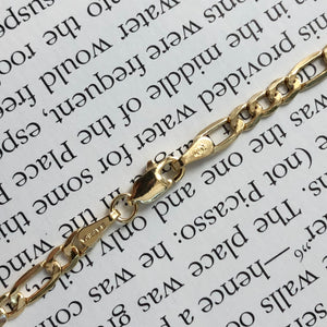 14KT Yellow Gold Figaro Chain Link Necklace 3.5mm, 14KT Yellow Gold Figaro Chain Link Necklace 3.5mm - Legacy Saint Jewelry