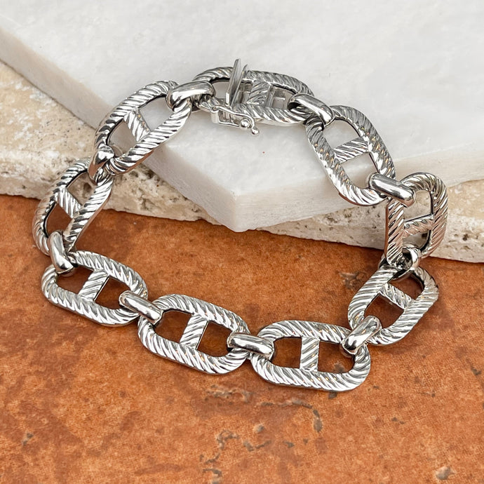 Estate 14KT White Gold Open Textured + Polished Style Links Design Bracelet - Legacy Saint Jewelry
