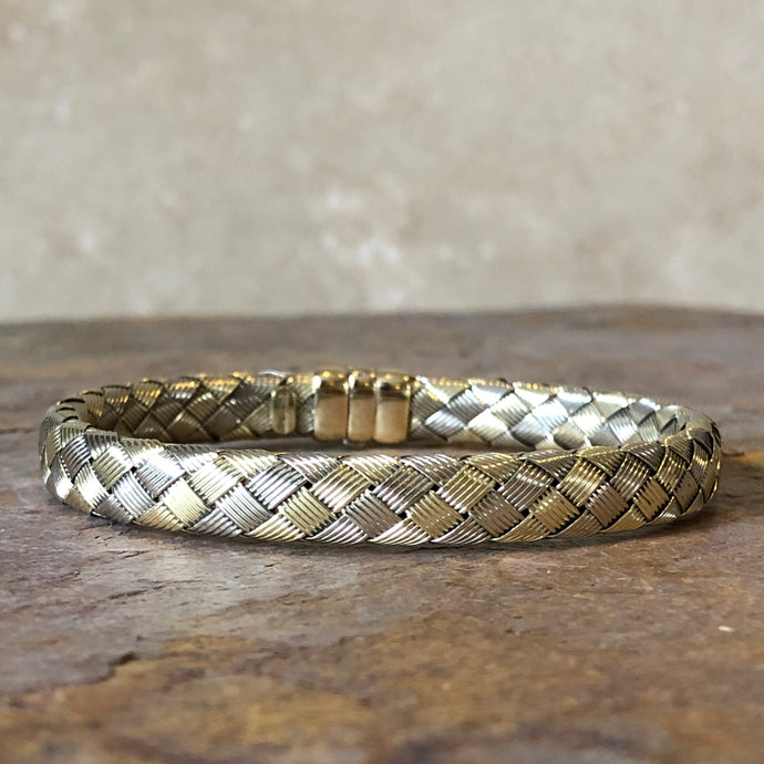Estate 14KT Yellow Gold + White Gold Mesh Basket Weave Soft Bangle Bracelet - Legacy Saint Jewelry