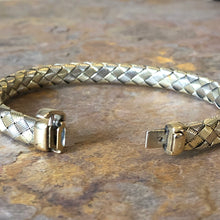Load image into Gallery viewer, Estate 14KT Yellow Gold + White Gold Mesh Basket Weave Soft Bangle Bracelet, Estate 14KT Yellow Gold + White Gold Mesh Basket Weave Soft Bangle Bracelet - Legacy Saint Jewelry