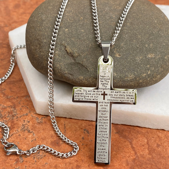 Stainless Steel Polished The Lord's Prayer Large Cross Chain Necklace, Stainless Steel Polished The Lord's Prayer Large Cross Chain Necklace - Legacy Saint Jewelry
