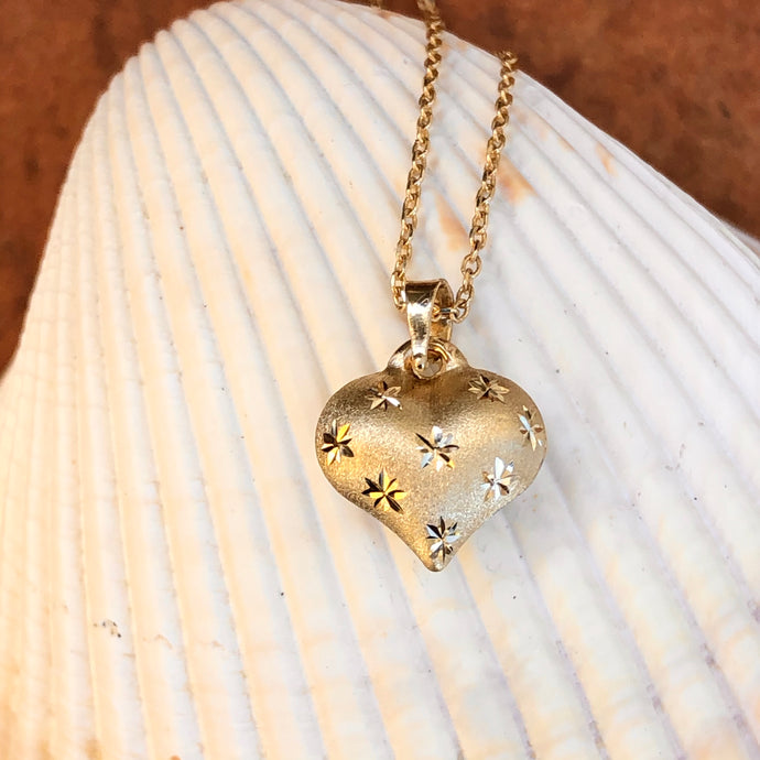14KT Yellow Gold Satin Diamond-Cut Puffed Heart Pendant Necklace, 14KT Yellow Gold Satin Diamond-Cut Puffed Heart Pendant Necklace - Legacy Saint Jewelry