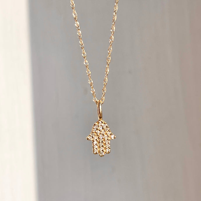 14KT Yellow Gold Pave Diamond Hamsa Mini Pendant Necklace