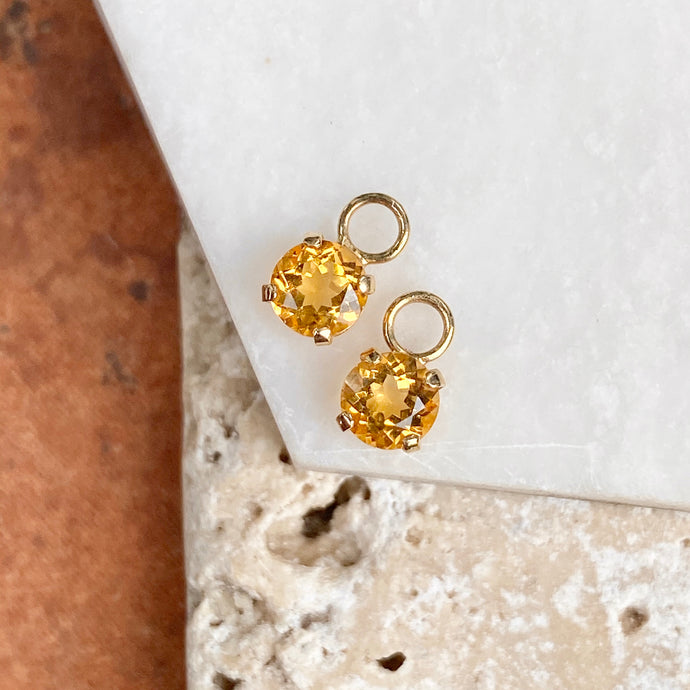 Estate 14KT Yellow Gold Mini Round Citrine Earring Charms, Estate 14KT Yellow Gold Mini Round Citrine Earring Charms - Legacy Saint Jewelry