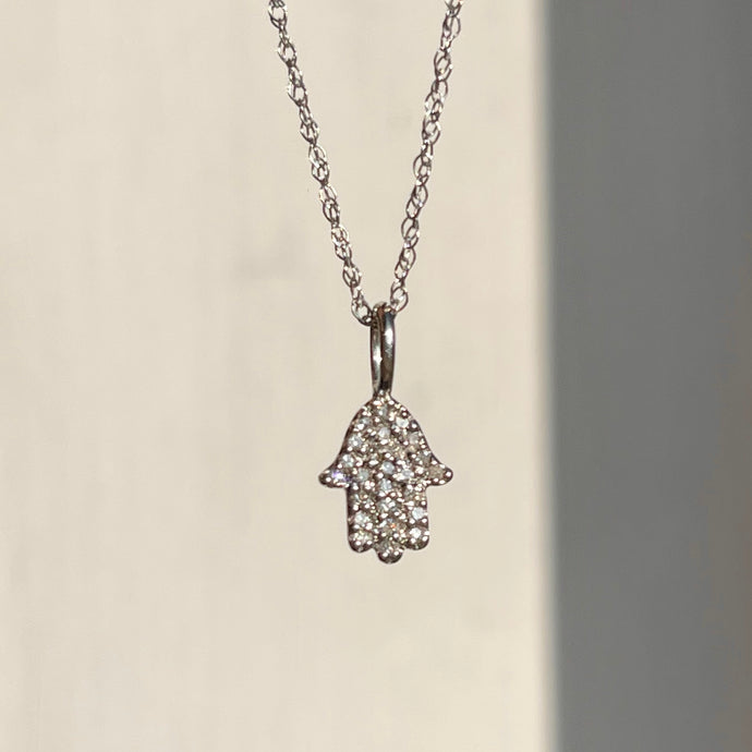14KT White Gold Pave Diamond Hamsa Mini Pendant Necklace