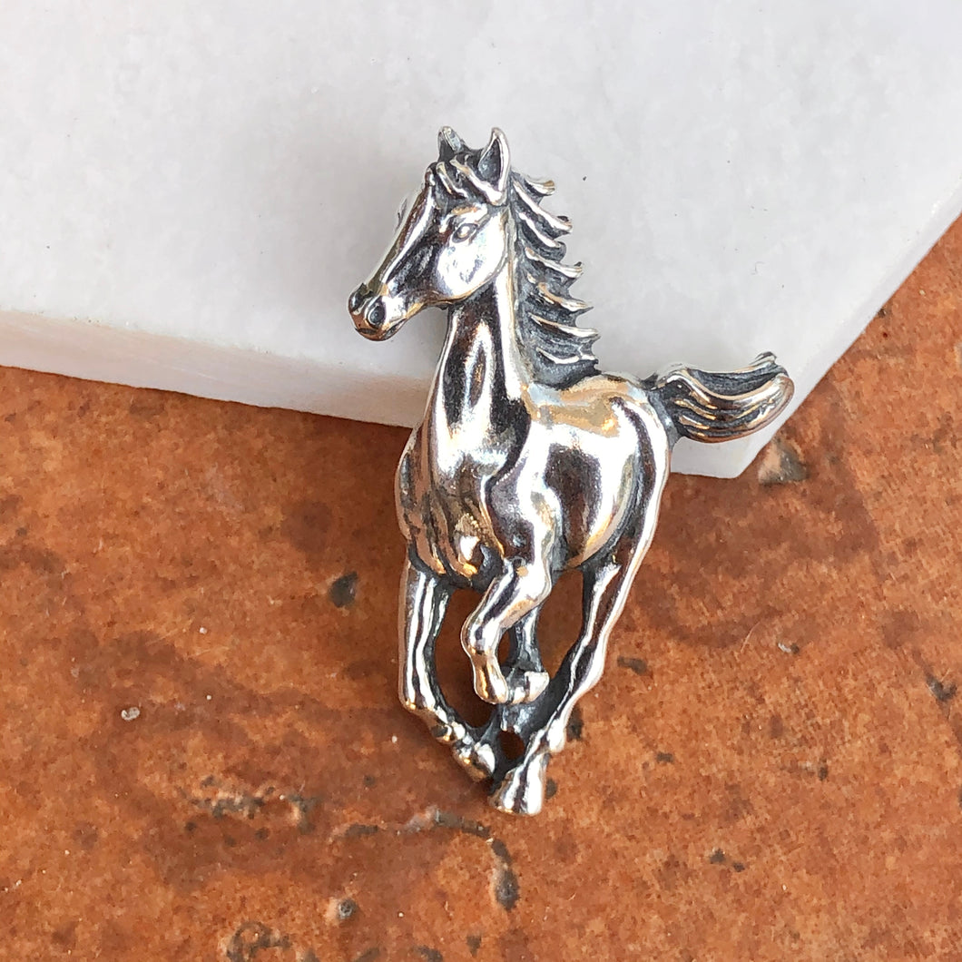 Sterling Silver Galloping Horse Pendant Charm, Sterling Silver Galloping Horse Pendant Charm - Legacy Saint Jewelry