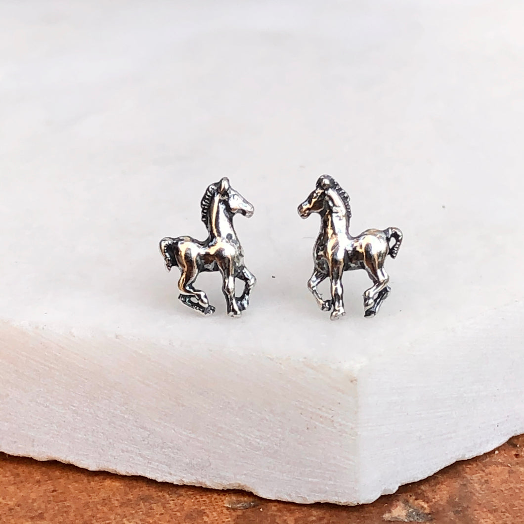 Sterling Silver Pony Horse Antiqued Stud Earrings, Sterling Silver Pony Horse Antiqued Stud Earrings - Legacy Saint Jewelry