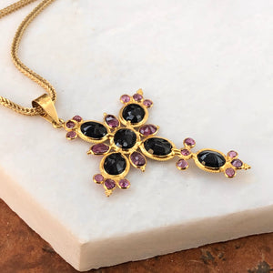 Estate 18KT Yellow Gold Blue Sapphire + Ruby Ornate Cross Pendant, Estate 18KT Yellow Gold Blue Sapphire + Ruby Ornate Cross Pendant - Legacy Saint Jewelry