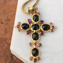 Load image into Gallery viewer, Estate 18KT Yellow Gold Blue Sapphire + Ruby Ornate Cross Pendant, Estate 18KT Yellow Gold Blue Sapphire + Ruby Ornate Cross Pendant - Legacy Saint Jewelry