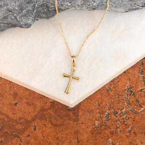 14KT Yellow Gold Beveled Cross Pendant Charm, 14KT Yellow Gold Beveled Cross Pendant Charm - Legacy Saint Jewelry