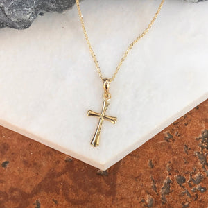 14KT Yellow Gold Beveled Cross Necklace, 14KT Yellow Gold Beveled Cross Necklace - Legacy Saint Jewelry