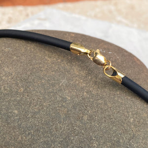 14KT Yellow Gold Black Rubber Cord Collar Necklace 3mm, 14KT Yellow Gold Black Rubber Cord Collar Necklace 3mm - Legacy Saint Jewelry