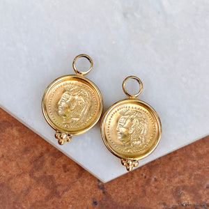 Estate 14KT Yellow Gold Matte Replica Roman Coin Earrings Charms