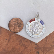 Load image into Gallery viewer, Sterling Silver Red, White + Blue Enamel Saint Michael Round Medal Pendant, Sterling Silver Red, White + Blue Enamel Saint Michael Round Medal Pendant - Legacy Saint Jewelry