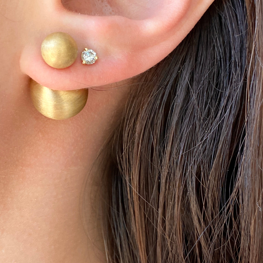 Gold-Plated Sterling Silver Double-End Matte Finish Pearl Earrings, Gold-Plated Sterling Silver Double-End Matte Finish Pearl Earrings - Legacy Saint Jewelry