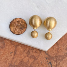 Load image into Gallery viewer, Gold-Plated Sterling Silver Double-End Matte Finish Pearl Earrings, Gold-Plated Sterling Silver Double-End Matte Finish Pearl Earrings - Legacy Saint Jewelry