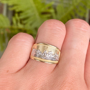10KT Yellow Gold + White Rhodium The Last Supper Cigar Band Ring