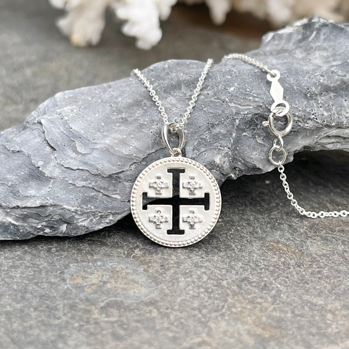 Sterling Silver Jerusalem Cross Diamond Medal Pendant Necklace
