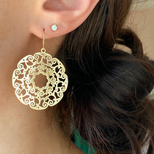 14KT Yellow Gold Lace Filigree Circle Dangle Earrings