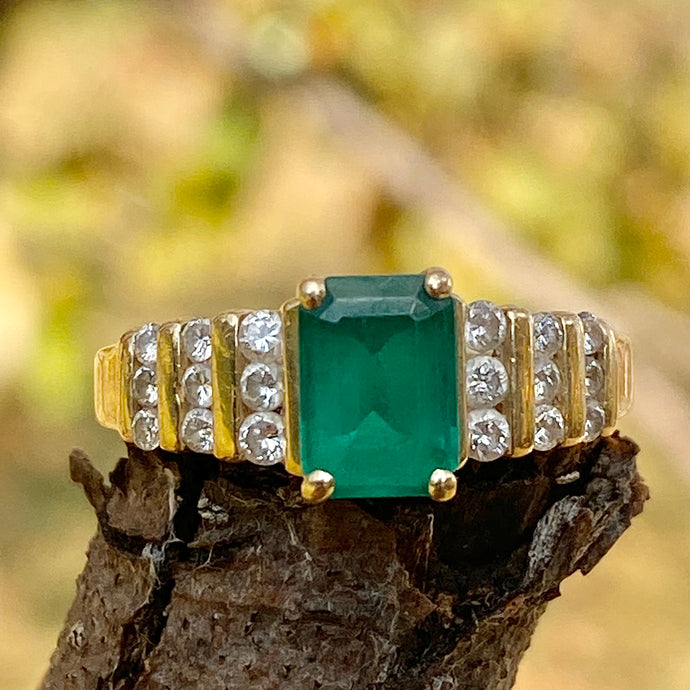 Estate 14KT Yellow Gold Emerald + 6-Row Diamond Ring, Estate 14KT Yellow Gold Emerald + 6-Row Diamond Ring - Legacy Saint Jewelry