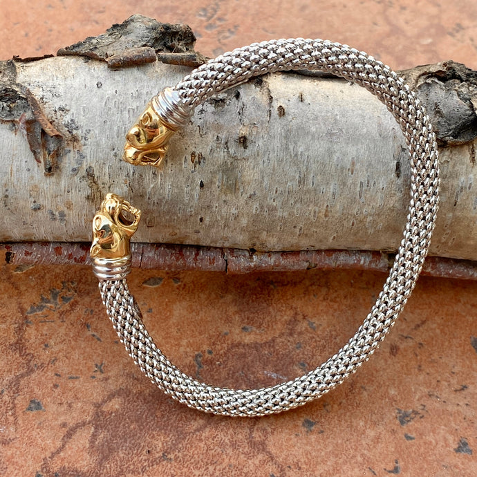 Estate 14KT Yellow Gold + White Gold Mesh Panther Bangle Bracelet, Estate 14KT Yellow Gold + White Gold Mesh Panther Bangle Bracelet - Legacy Saint Jewelry