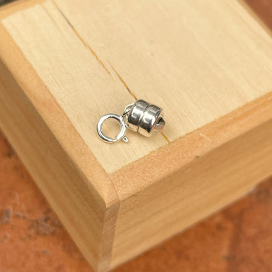 Sterling Silver Magnetic Barrel Clasp Converter with Spring Ring