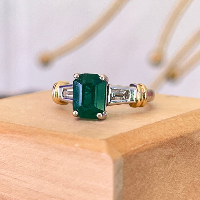 Estate 18KT Yellow Gold + White Gold Emerald-Cut Emerald + Baguette Diamond Ring