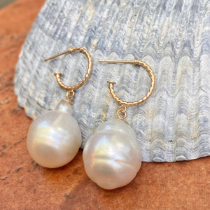 14KT Yellow Gold Rope Twist Hoop with Paspaley South Sea Pearl Drop Charm Earrings
