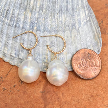 Load image into Gallery viewer, 14KT Yellow Gold Rope Twist Hoop with Paspaley South Sea Pearl Drop Charm Earrings