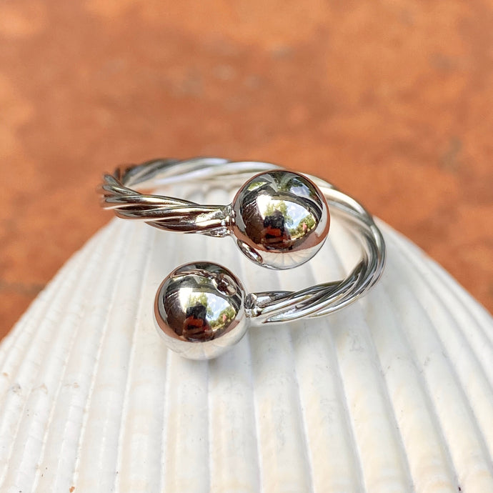 Sterling Silver Twisted Wire Bypass Adjustable Ring with Ball Accents, Sterling Silver Twisted Wire Bypass Adjustable Ring with Ball Accents - Legacy Saint Jewelry