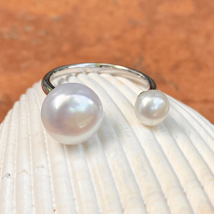 Sterling Silver Freshwater White Double Pearl Open Shank Ring, Sterling Silver Freshwater White Double Pearl Open Shank Ring - Legacy Saint Jewelry