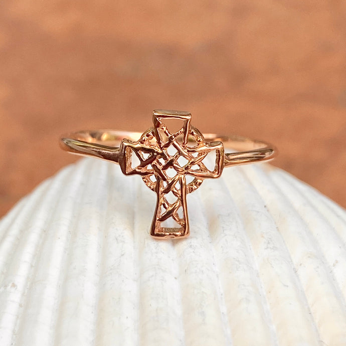 14KT Rose Gold Celtic Cross Open Weave Ring - Legacy Saint Jewelry