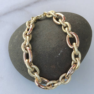 14KT Yellow Gold + Rose Gold Rounded Textured Toggle Link Bracelet - Legacy Saint Jewelry
