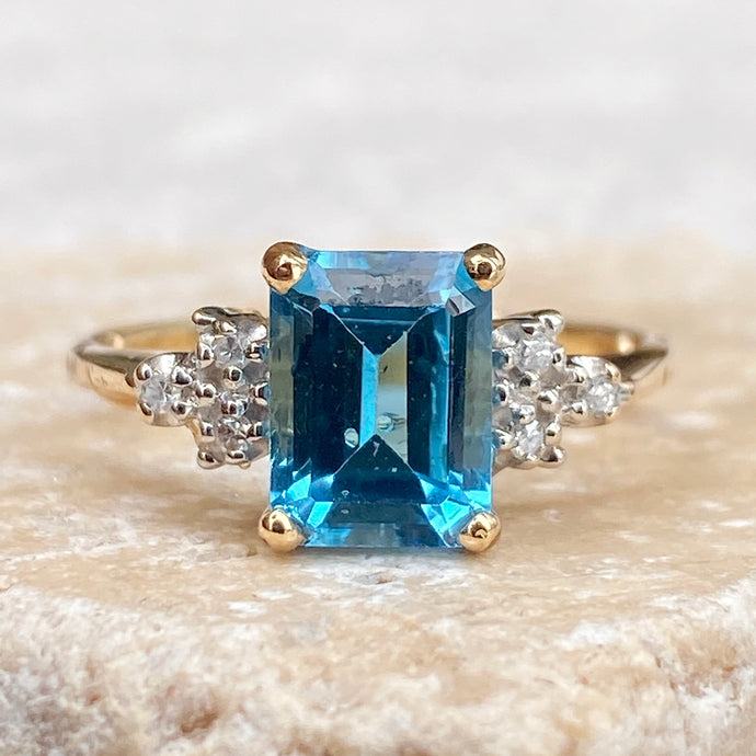 Estate 10KT Yellow Gold Emerald-Cut Blue Topaz + Diamond Ring, Estate 10KT Yellow Gold Emerald-Cut Blue Topaz + Diamond Ring - Legacy Saint Jewelry