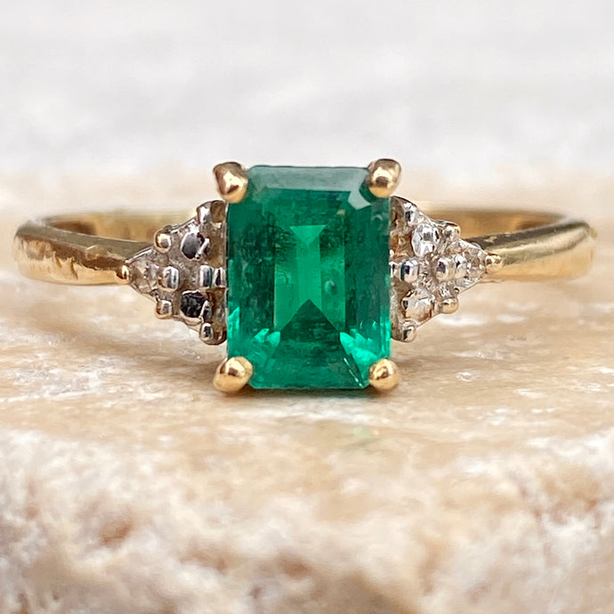 Estate 10KT Yellow Gold Emerald-Cut Emerald + Diamond Ring, Estate 10KT Yellow Gold Emerald-Cut Emerald + Diamond Ring - Legacy Saint Jewelry