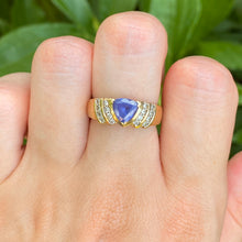 Load image into Gallery viewer, Estate  14KT Yellow Gold Trillion Tanzanite + Round Diamond Ring, Estate  14KT Yellow Gold Trillion Tanzanite + Round Diamond Ring - Legacy Saint Jewelry