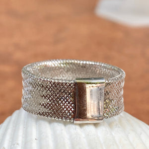 14KT White Gold Open Weave Mesh Cigar Band Ring, 14KT White Gold Open Weave Mesh Cigar Band Ring - Legacy Saint Jewelry